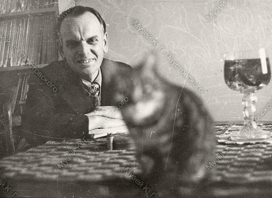 Фотография, Паустовский, кот сидит на столе перед ним